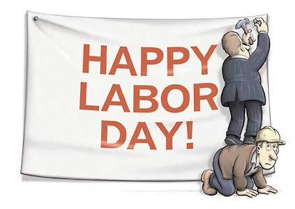 Putting up a labor day sign